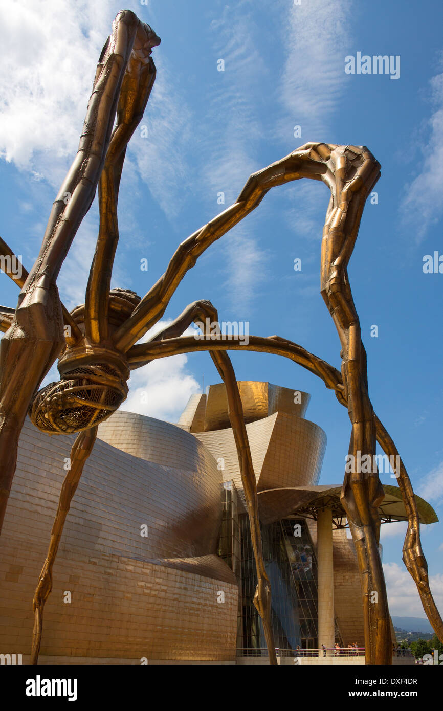 The seaport of Bilbao in the province of Biscay in northern Spain. View of the Spider near the Guggenheim Museum. - Stock Image