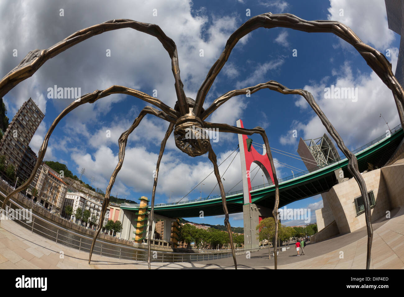 Spider and the Puente de la Salve in Bilbao in the province of Biscay in northern Spain - Stock Image