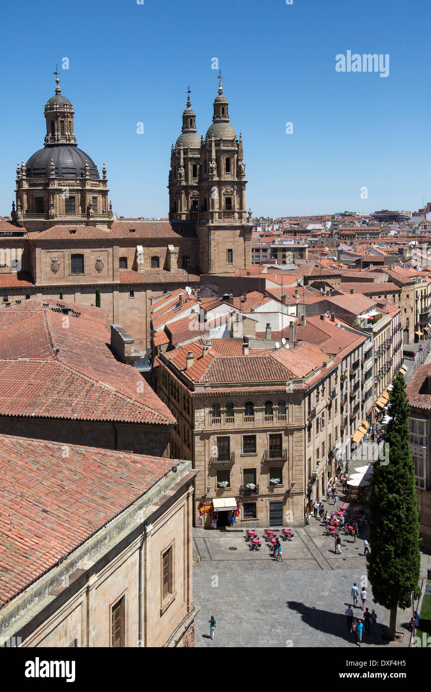 View from the Cathedral of the Universidad bell towers and the city of Salamanca in Spain. - Stock Image
