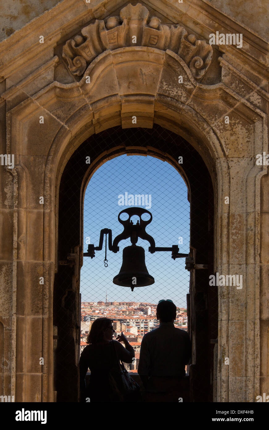 Tourists in the bell tower of the Universidad in the city of Salamanca in the Castilla-y-Leon region of Spain. - Stock Image