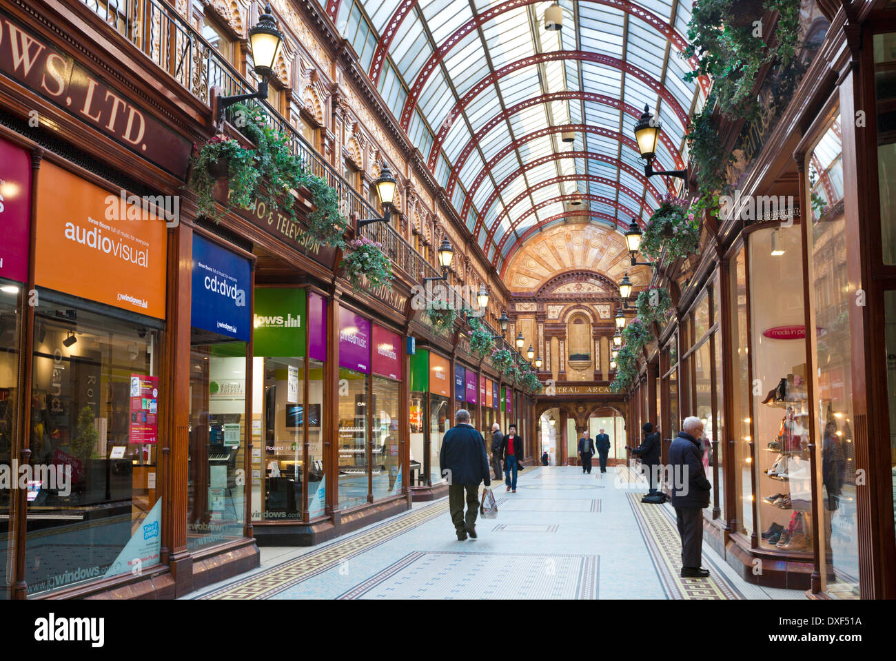 Shops in Central Arcade off Grainger Street city centre Grainger Town Newcastle upon Tyne Tyne and Wear UK GB EU Stock Photo