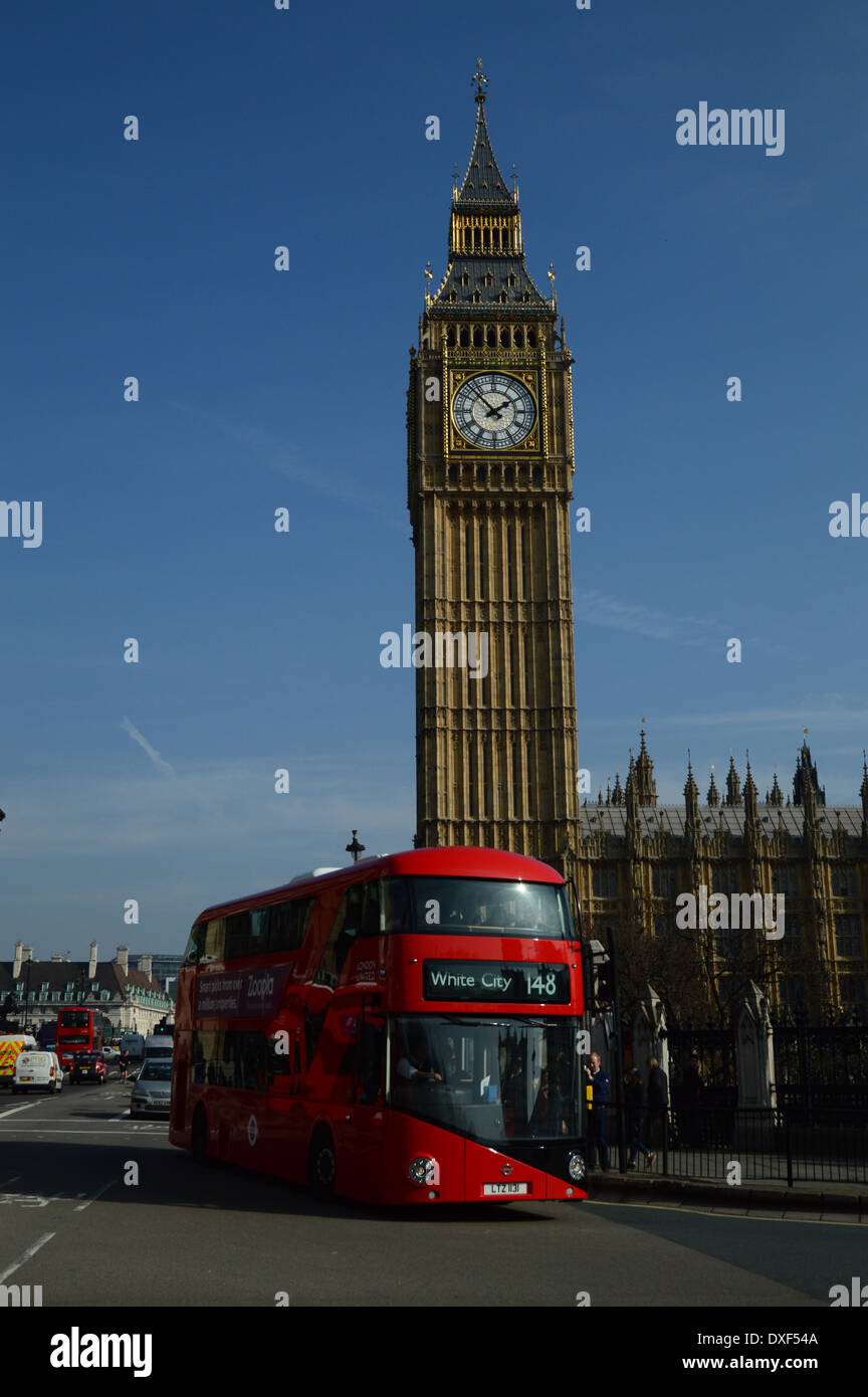 Big Ben and new bus for London - Stock Image