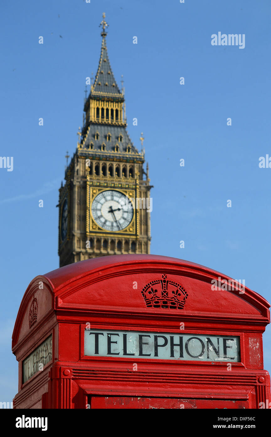 Big Ben and Red telephone box - Stock Image