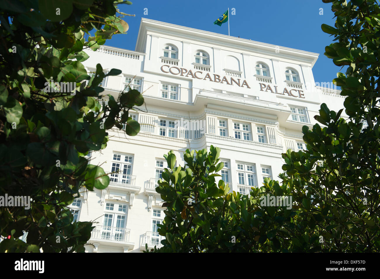RIO DE JANEIRO, BRAZIL - FEBRUARY 11, 2014: Facade of the Copacabana Palace Hotel, whose design was based on the style of hotels - Stock Image