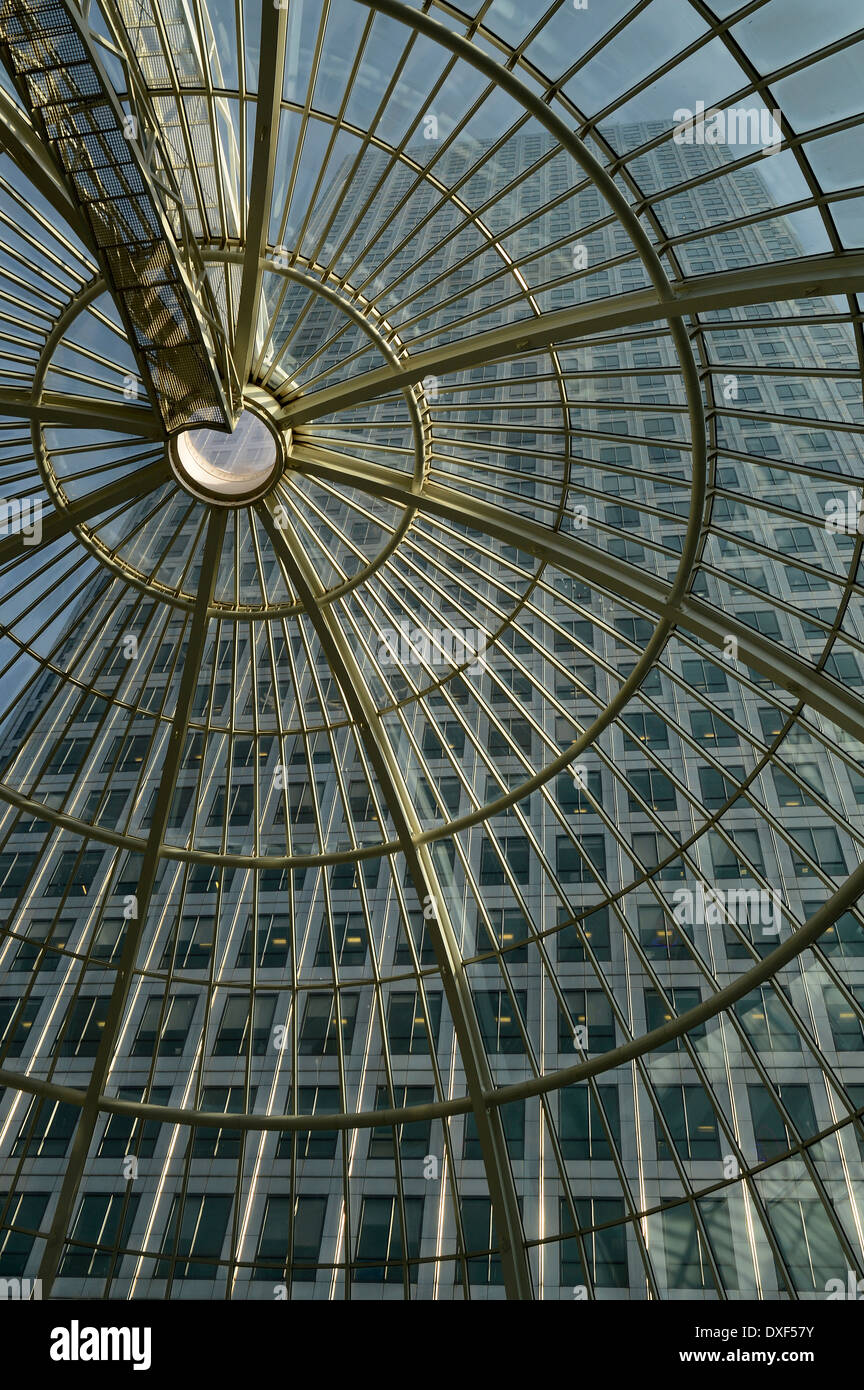 Canary Wharf viewed through glass roof - Stock Image