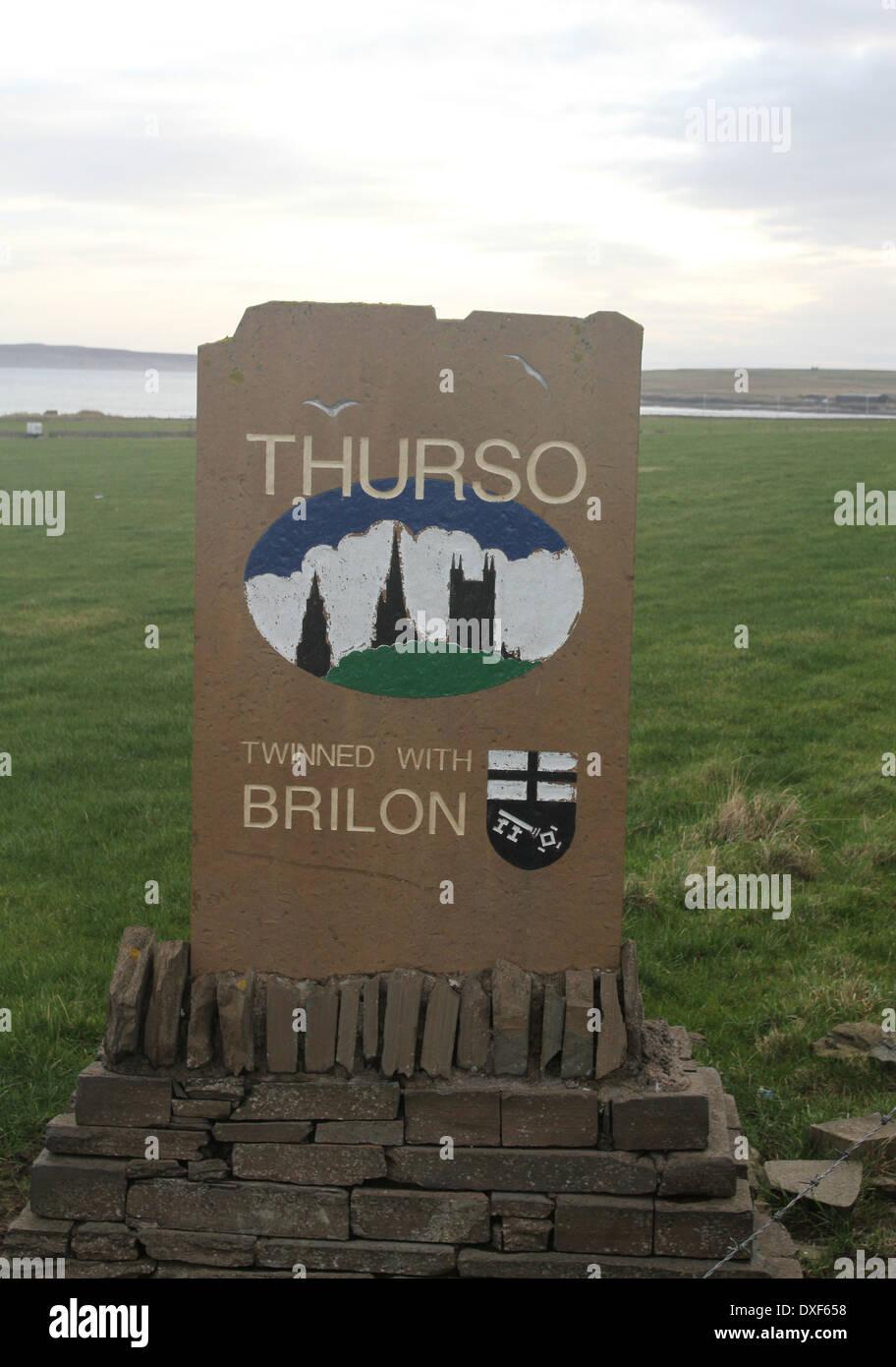 Thurso sign Caithness Scotland March 2014 - Stock Image