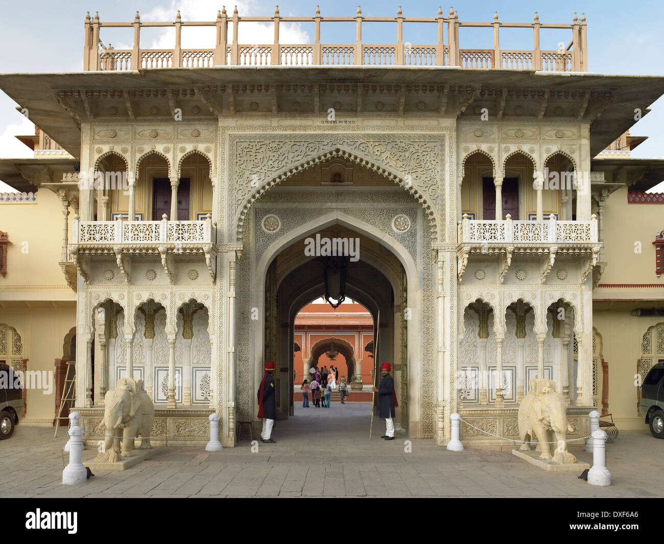 Rajendra Pol gateway at the City Palace in the city of Jaipur in Rajasthan in western India. - Stock Image