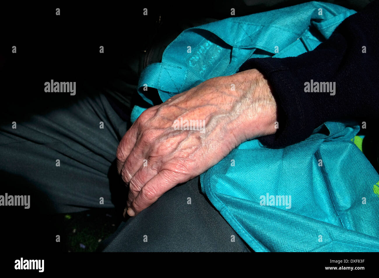 The left hand of an old man. - Stock Image