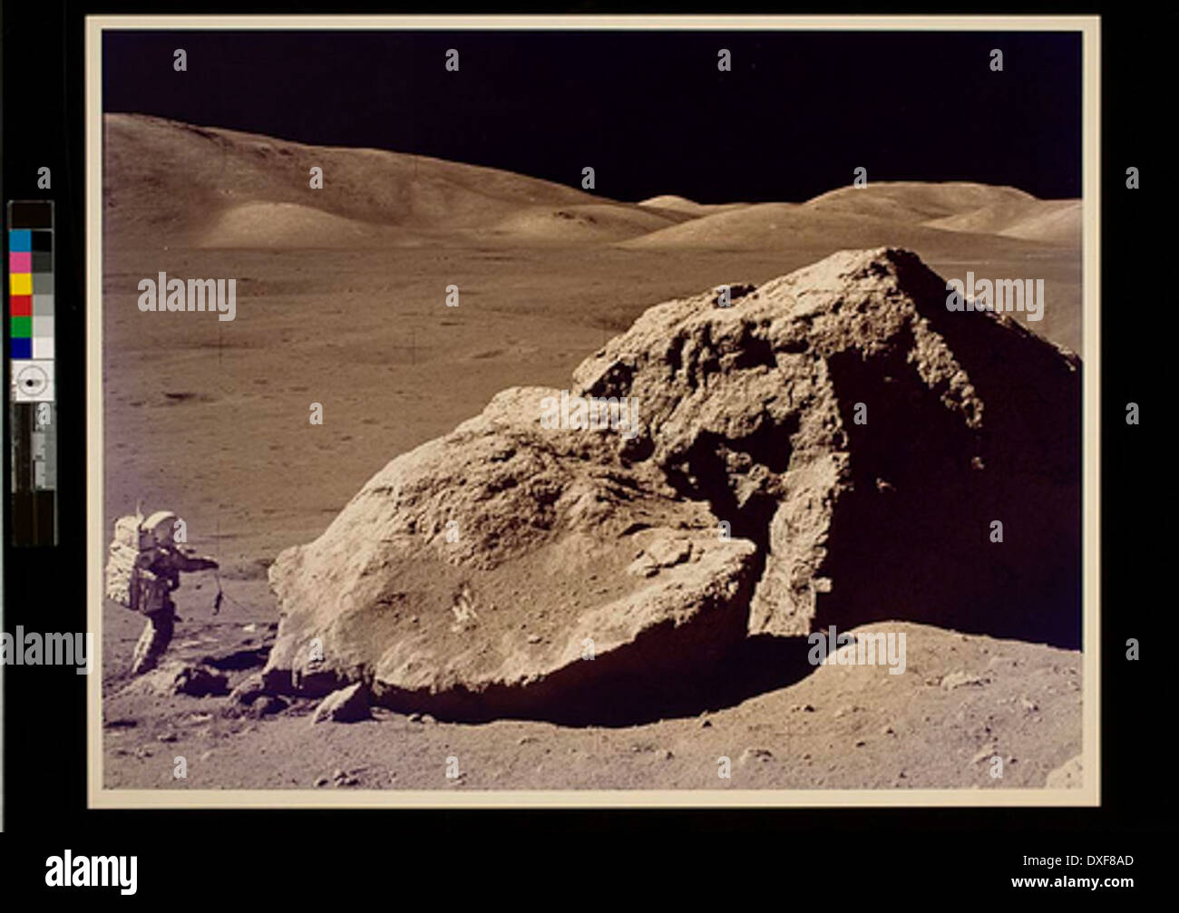 Apollo 17 Astronaut Harrison Schmitt Collects Lunar Rock Samples - Stock Image