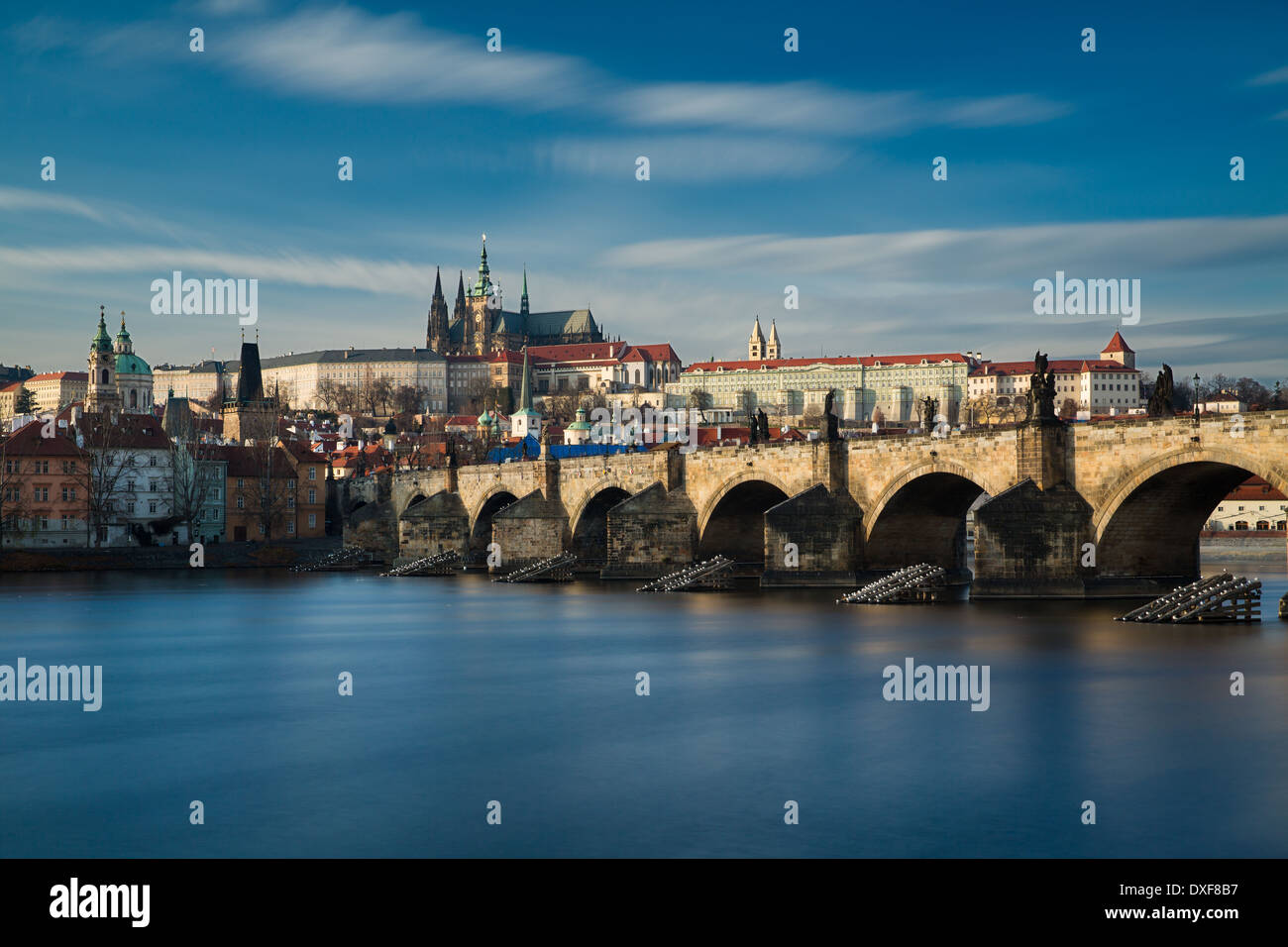 the Castle District, St Vitus Cathedral and the Charles Bridge over the River Vltava, Prague, Czech Republic - Stock Image