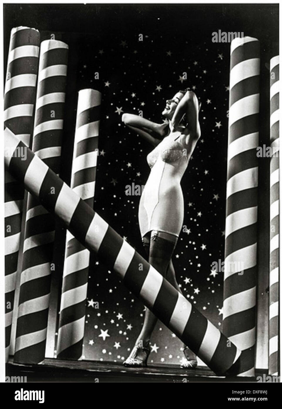 Carter Corsets, woman with stars and stripes background - Stock Image