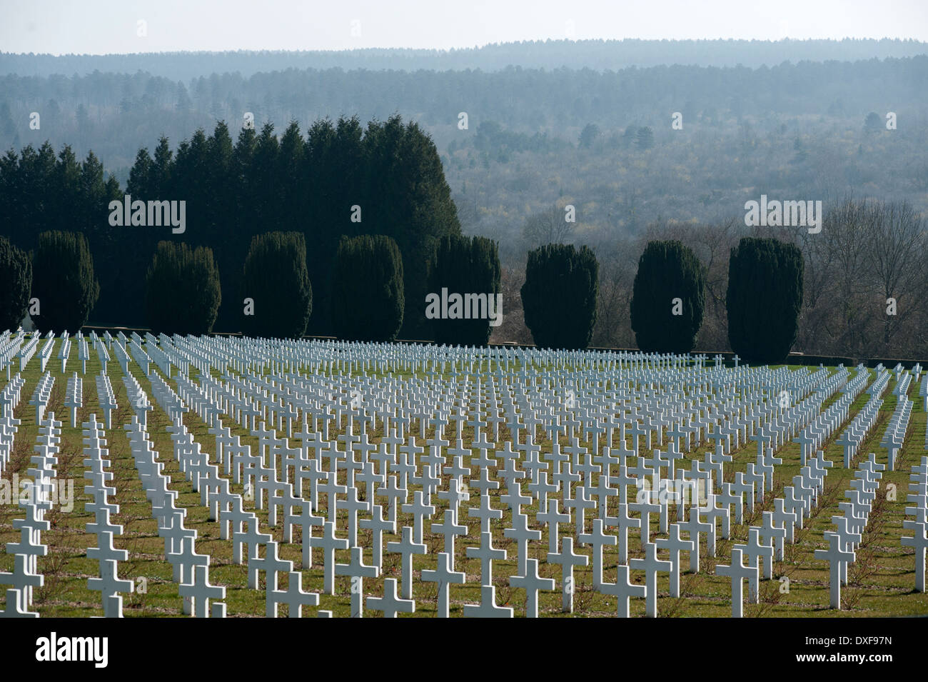 Verdun WW1 Battlefield site, Verdun-sur-Meuse, France. March 2014 Seen here : The French Cemetery and Great Ossuary at Douaumont - Stock Image