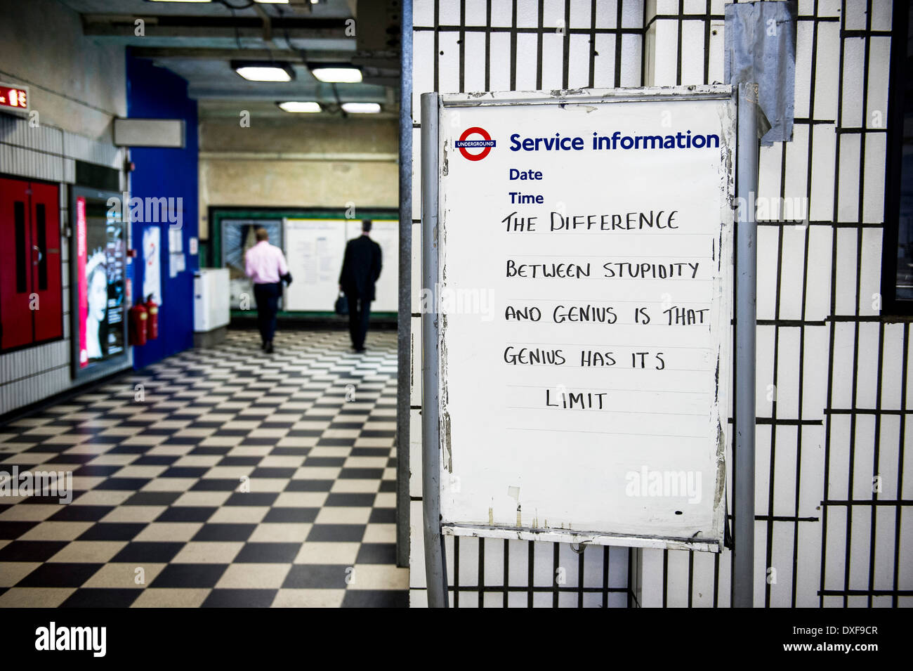 An amusing quote written on a sign. - Stock Image