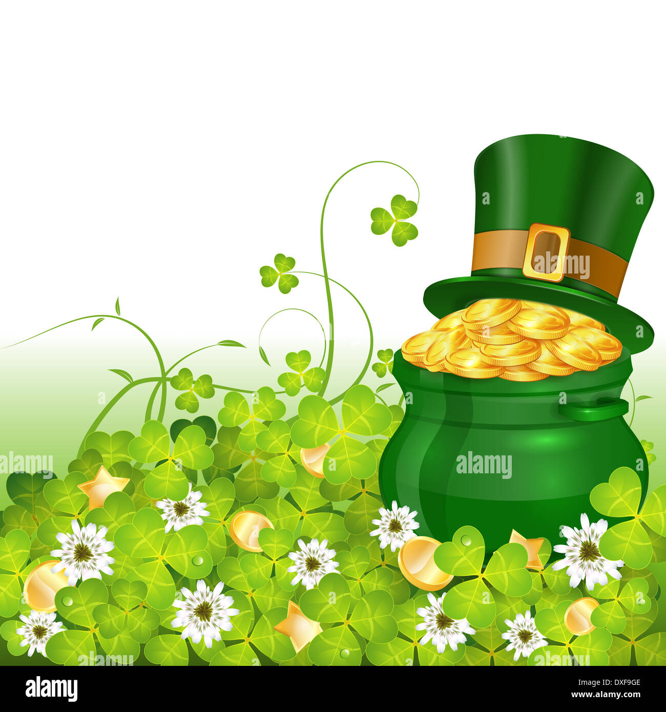 St Patrick Day Poster With Pot Gold Coins Hat And Clover