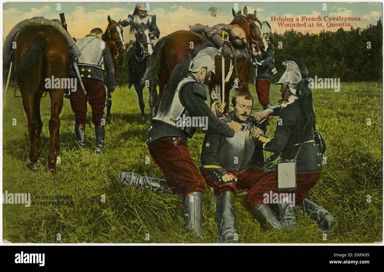 Helping a French Cavalryman Wounded at St. Quentin - Stock Image
