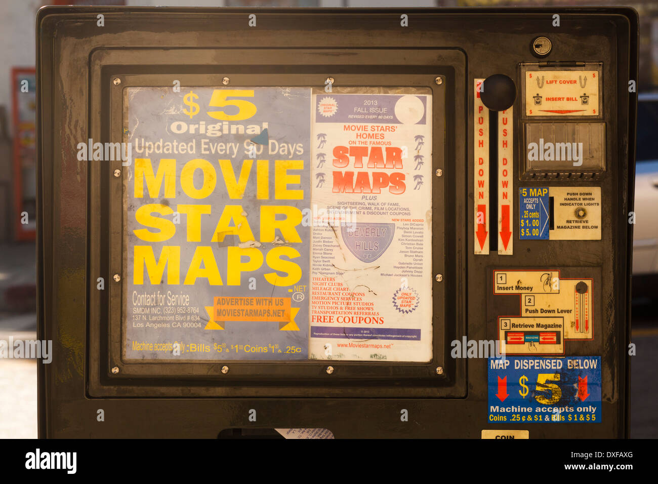 Movie star maps in a dispenser on Hollywood Boulevard, Los Angeles ...