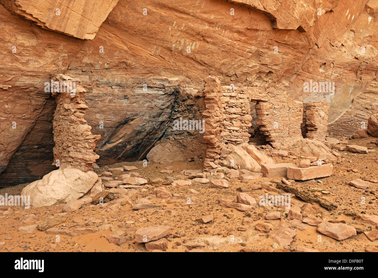 House of Many Hands, remains of Native Americans, about 1500 years old, Mystery Valley, Arizona, USA - Stock Image