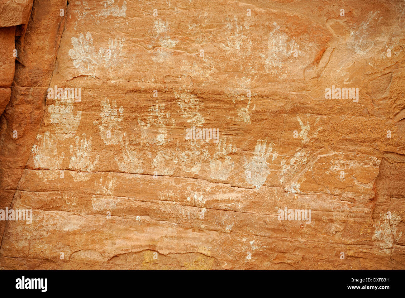 Palm prints and drawings, House of Many Hands, remains of Native Americans, about 1500 years old, Mystery Valley, Arizona, USA - Stock Image