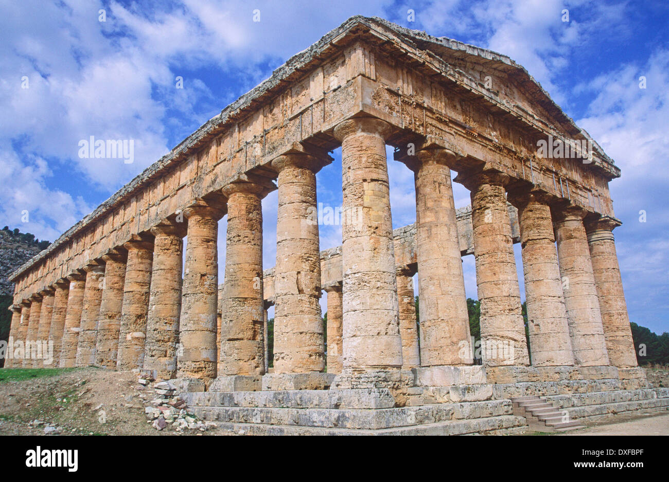 Greek style Temple of Segesta, Sicily, Italy Stock Photo