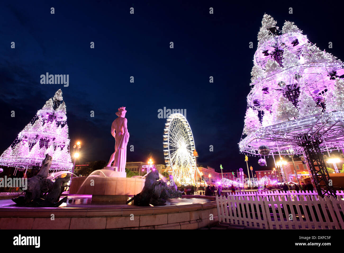 Open air Christmas market in Nice city, Place Massena Stock Photo ...