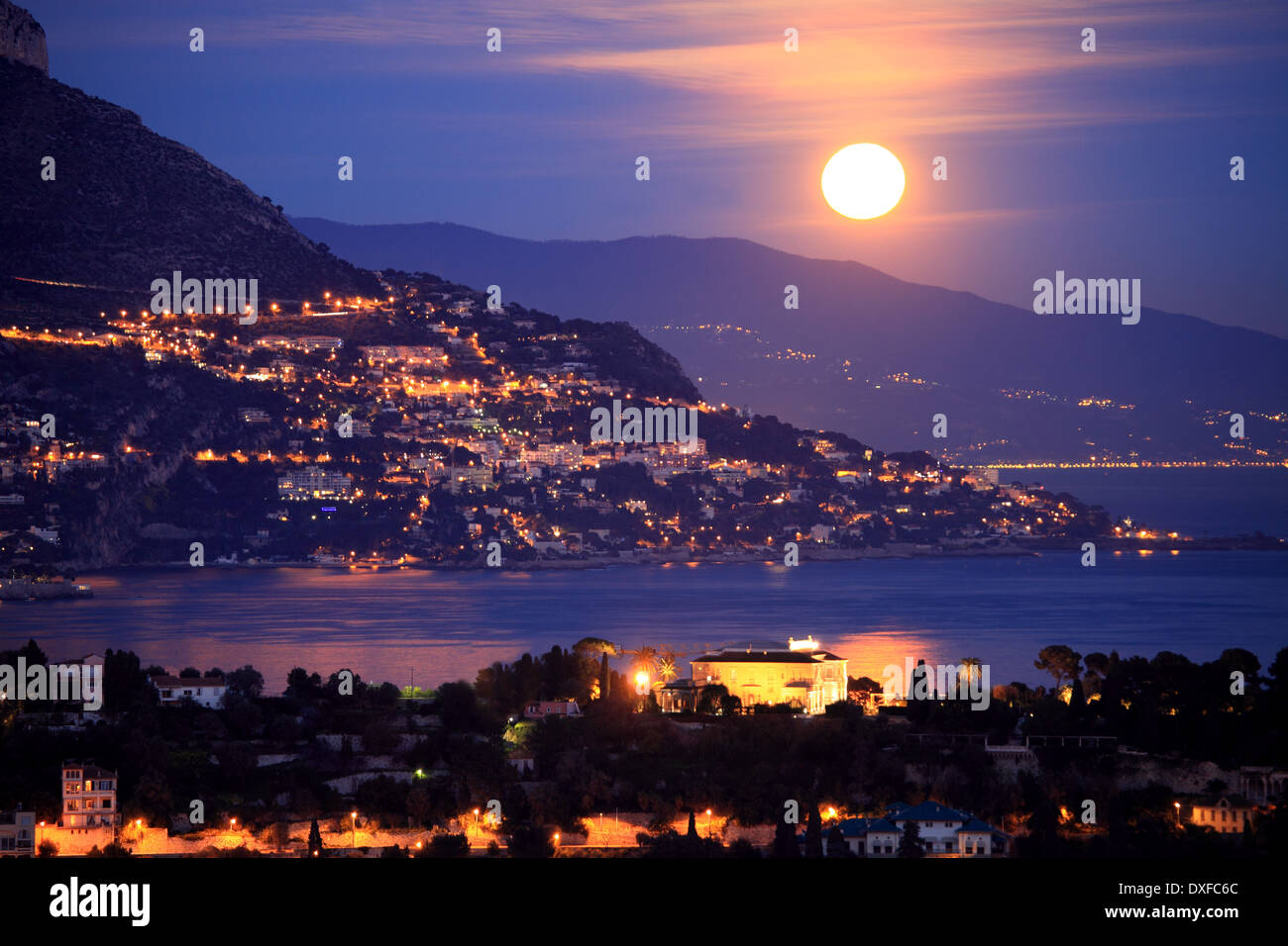 Full moon above the Cap Ferrat on the French Riviera - Stock Image