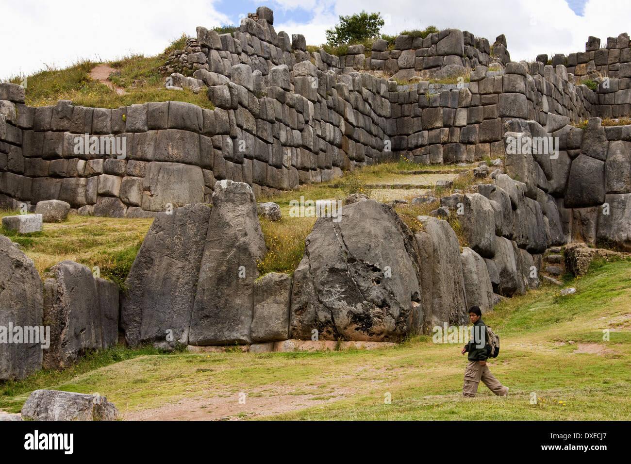 Inca stonework at Sacsayhuaman near Cuzco in Peru - Stock Image