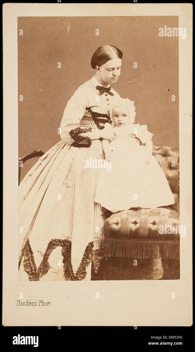 Princess Clotilde and baby (probably Napolèon Victor Bonaparte, born 1862) Stock Photo