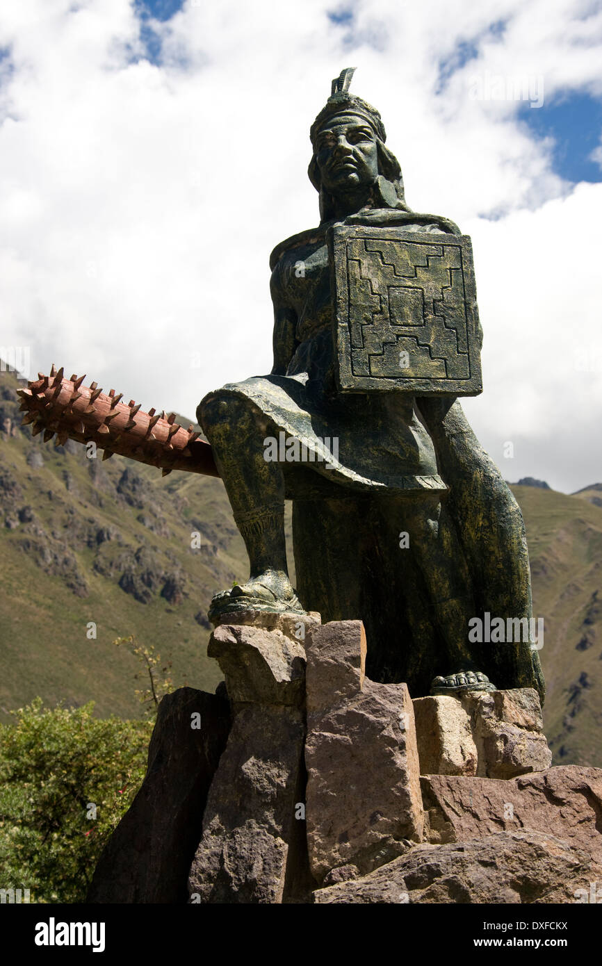 Statue Of An Inca King At Ollantaytambo In The Sacred Valley Of The Dxfckx on Pachacuti Inca