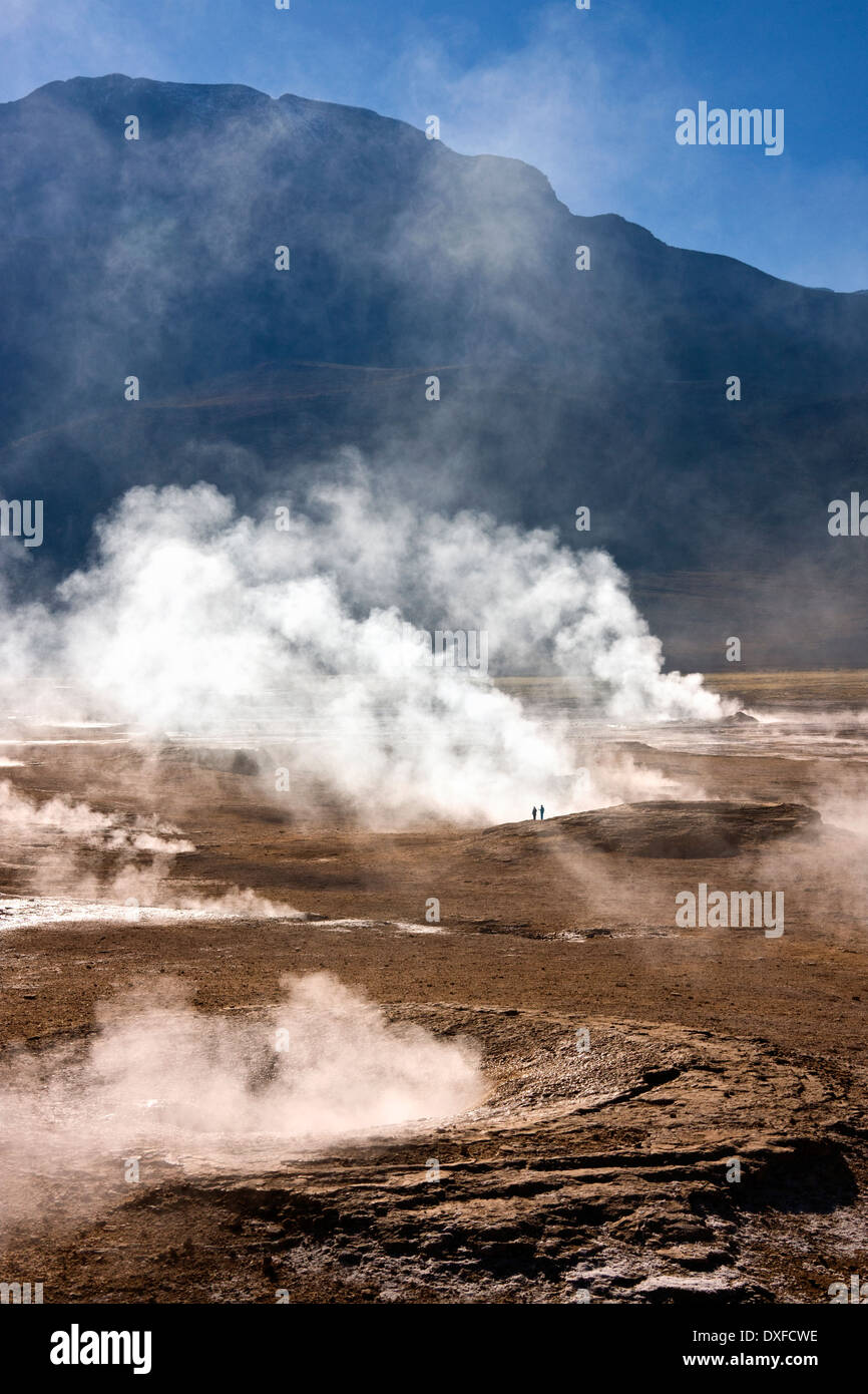 Geysers and geo-thermal steam vents at the El Tatio Geyser Field at 4500m (14764ft) in the Atacama Desert in northern Chile - Stock Image