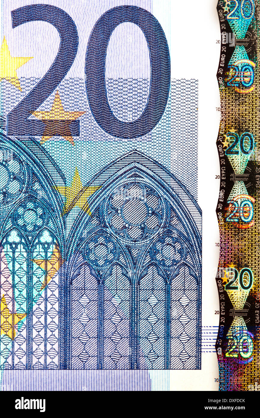 Money - Euro - European Union. Twenty Euro Banknote. - Stock Image