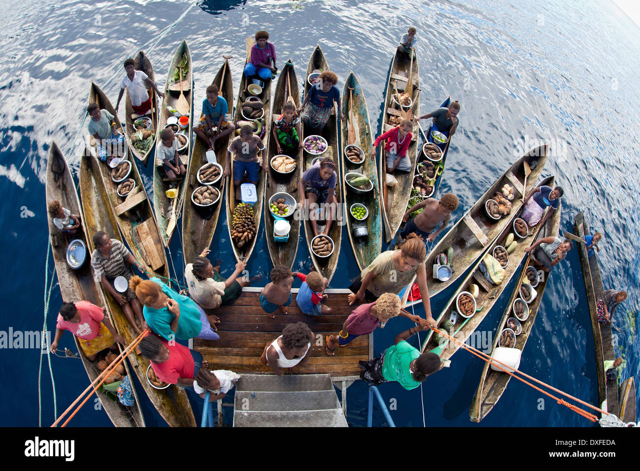 Natives selliing products to a Liveaboard, Melanesia, Pacific Ocean, Solomon Islands - Stock Image