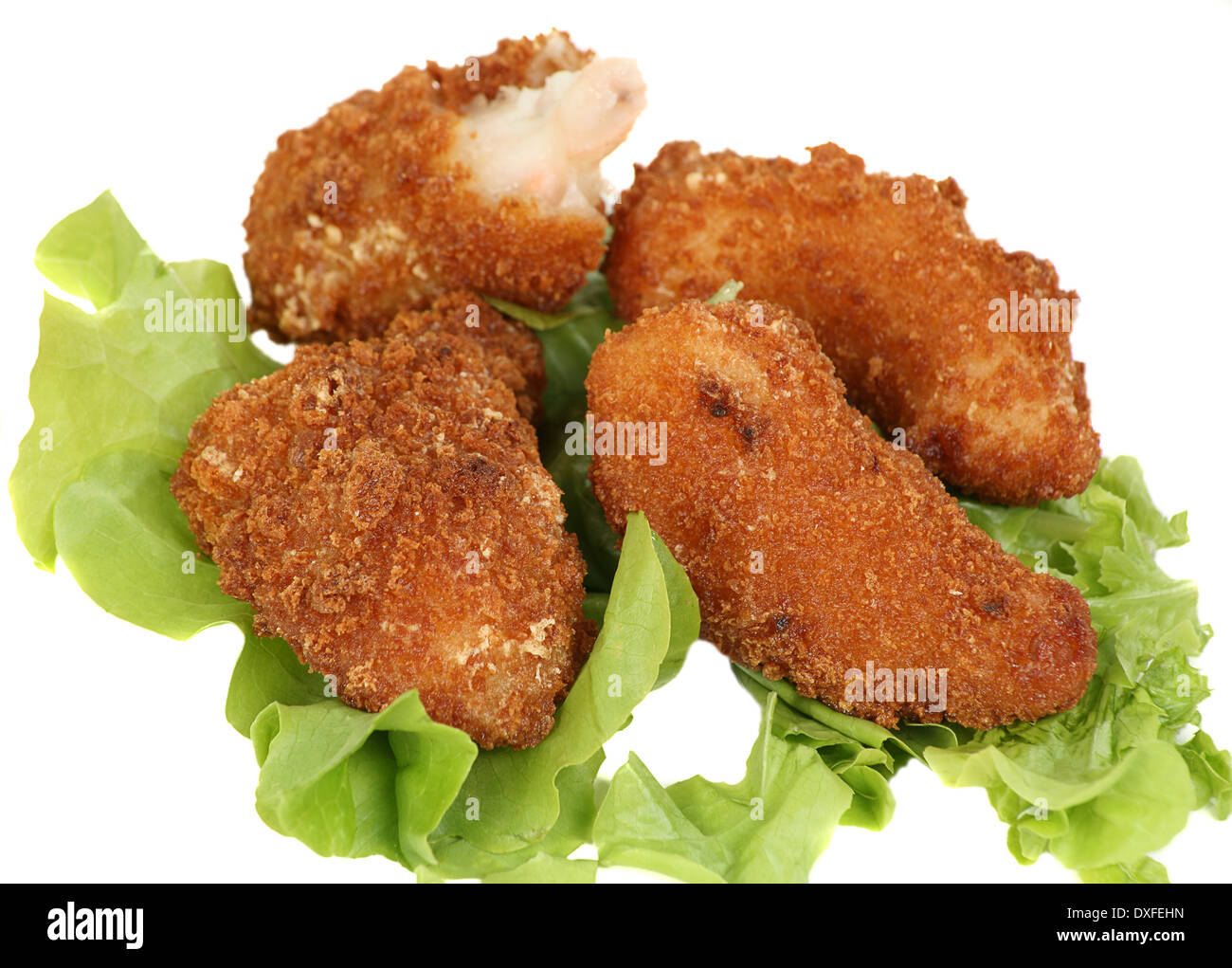 wholetail breaded scampi isolated on a white background Stock Photo