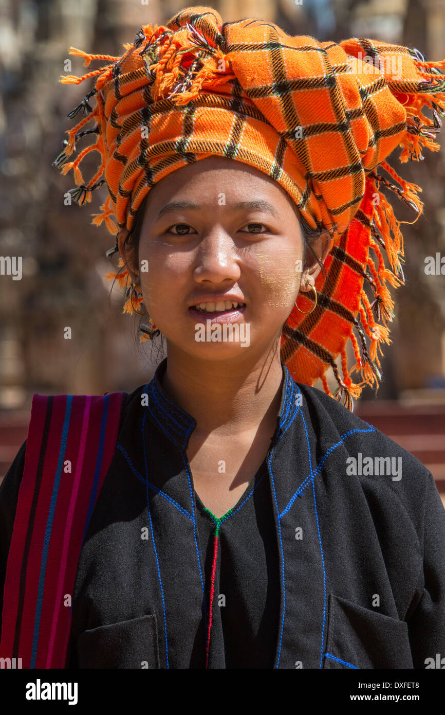 A young woman of the PaO people of Shan State in Myanmar (Burma). Stock Photo