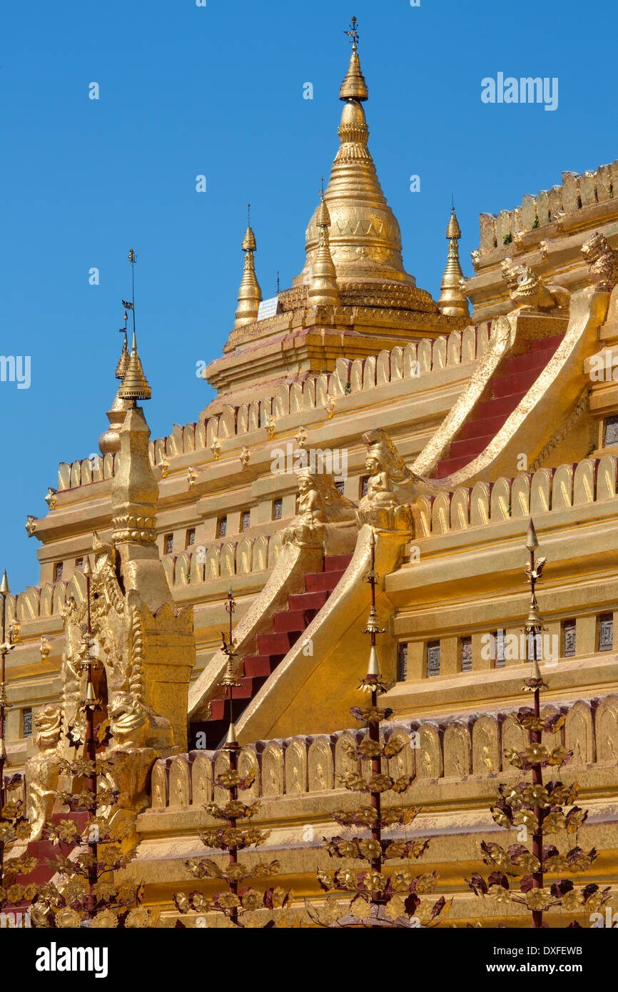 Detail on the Shwezigon Pagoda in the ancient city of Bagan in Myanmar (Burma). Stock Photo