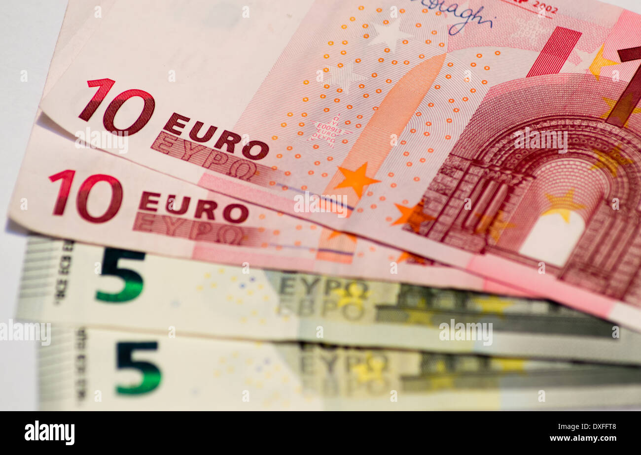 Ten and five euro banknotes - Stock Image