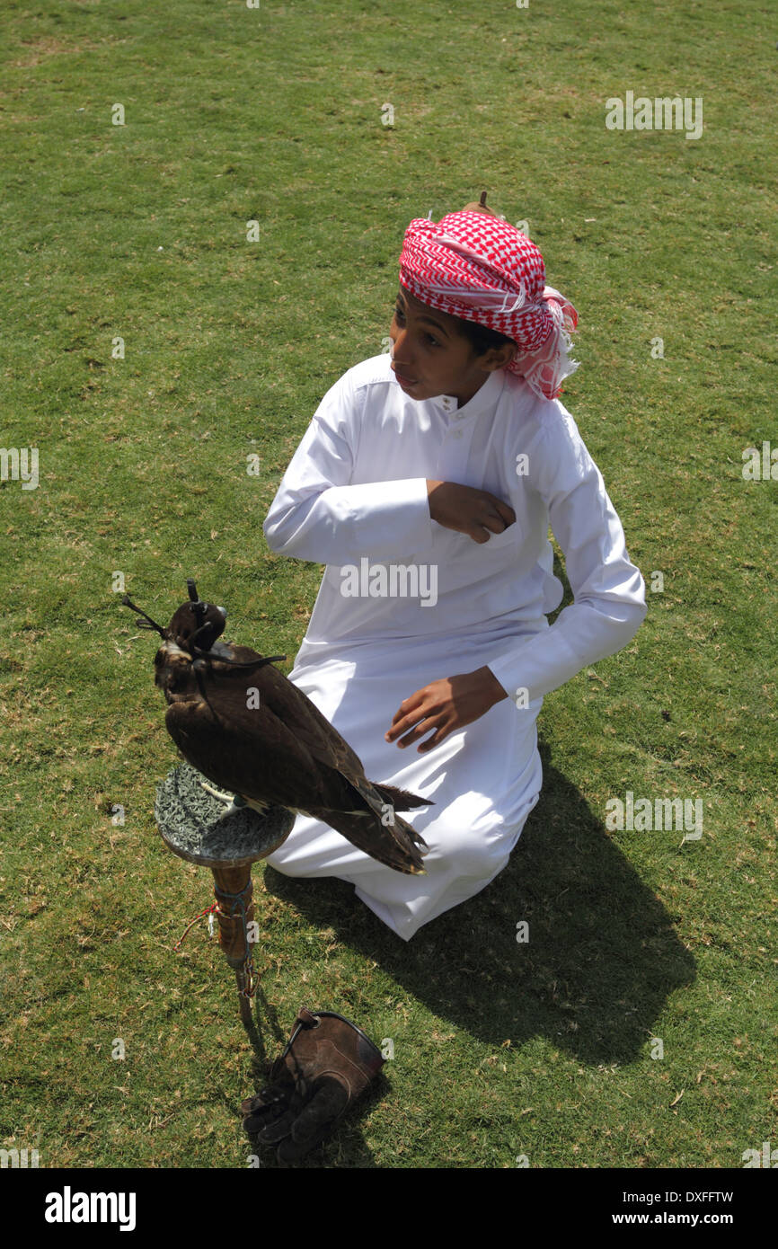 Boy with a falcon at the Bahrain Animal Production Show, 2014, at Bahrain International Endurance Village - Stock Image