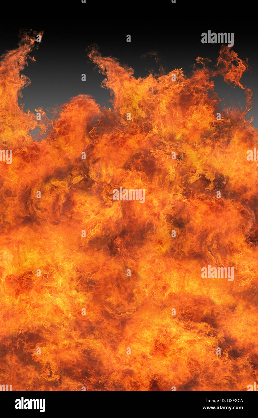 A raging fire burning out of control. - Stock Image