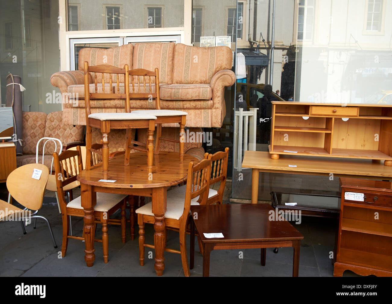 Used Second Hand Furniture On Sale On A Uk High Street Stock Photo