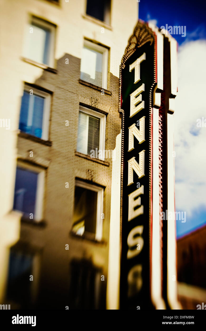 The Tennessee Theater marquis on Knoxville, Tennnessee. - Stock Image