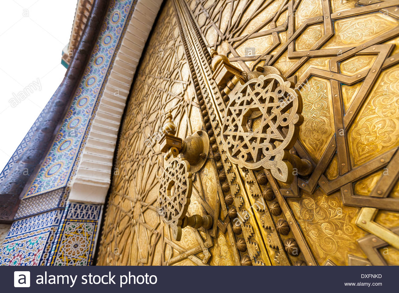 Detail of Royal Palace metal door with door handle - close-up - Morocco - Stock Image
