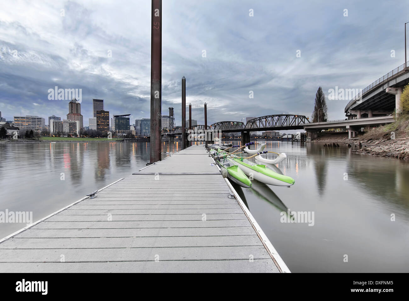 Moorage at Portland Downtown Waterfront on the Willamette River with City Skyline at Dusk - Stock Image