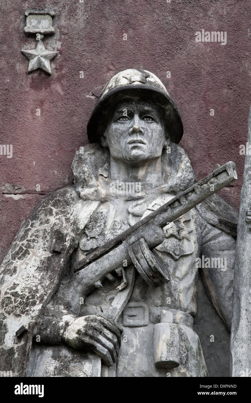Statue of a Russian Soldier from the Communist Era, Beelitz, Germany - Stock Image