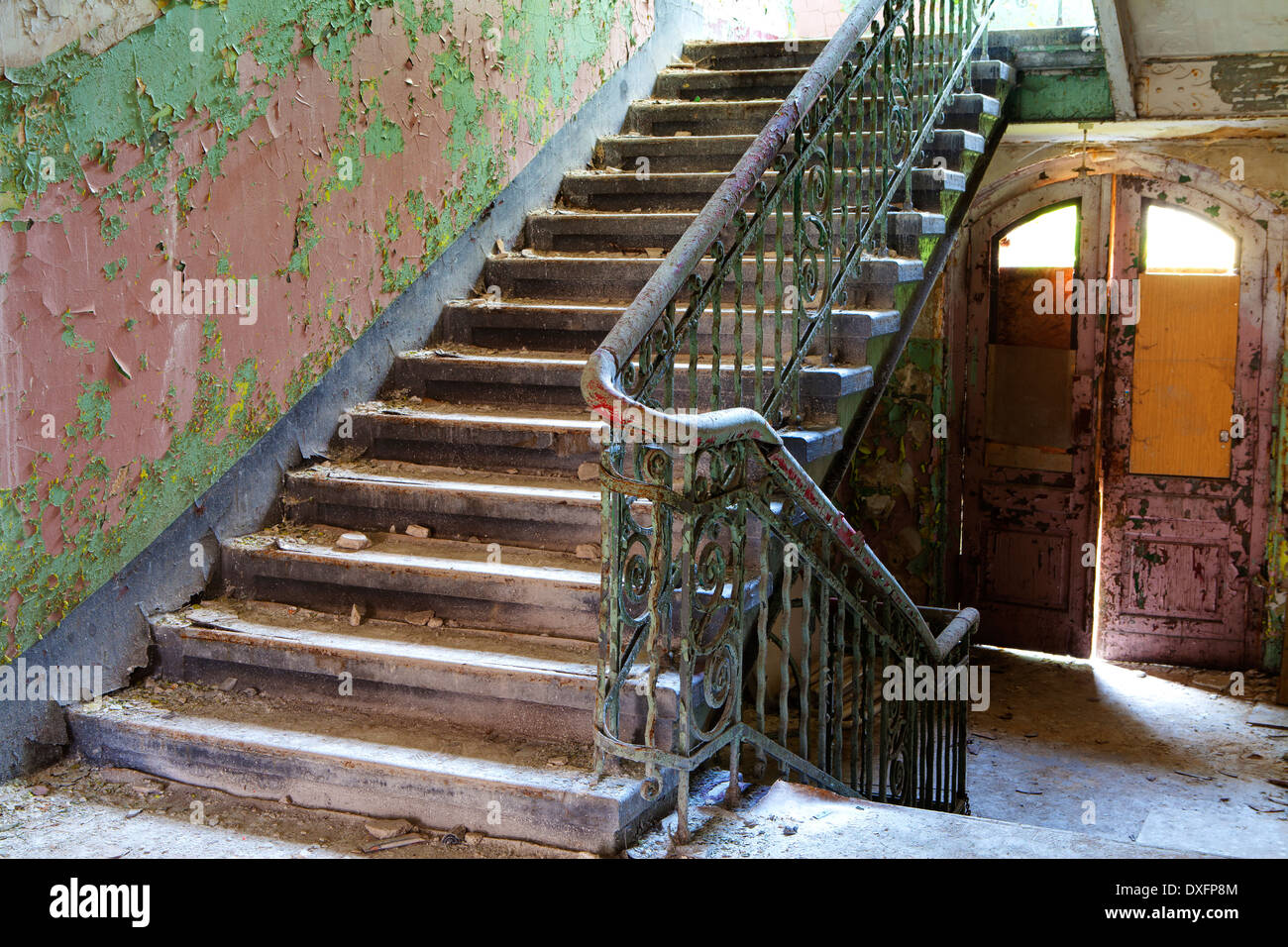 Stairs in an Abandoned Building - Stock Image