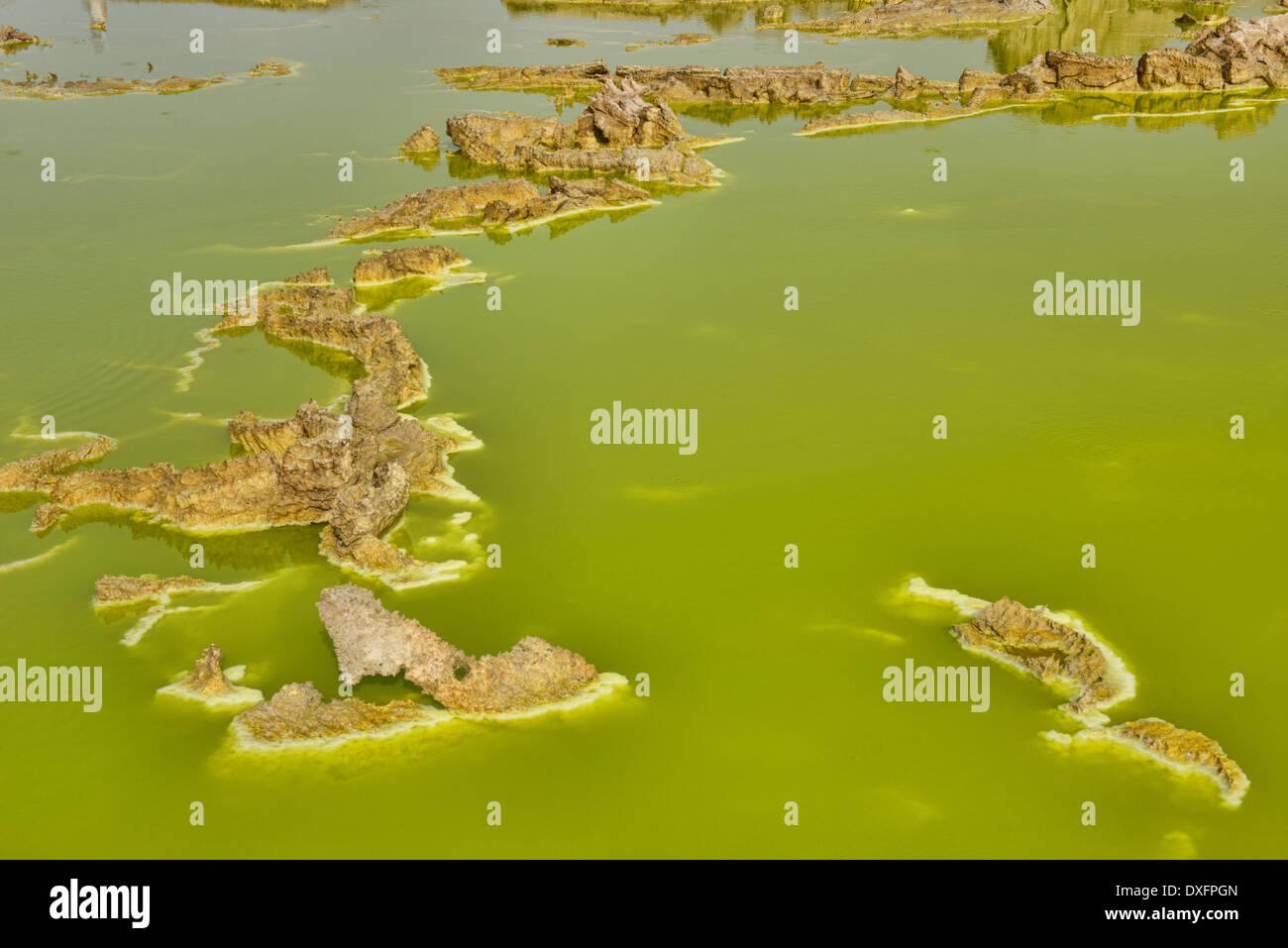 The surreal volcanic landscape of Dallol in the Danakil Depression, Ethiopia - Stock Image