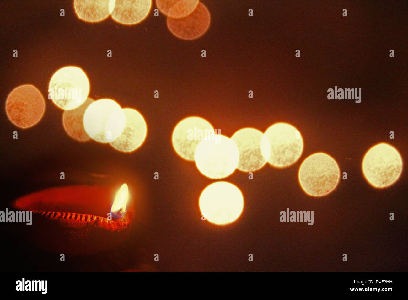 Oil Lamp, Diya during Diwali Festival, India - Stock Image