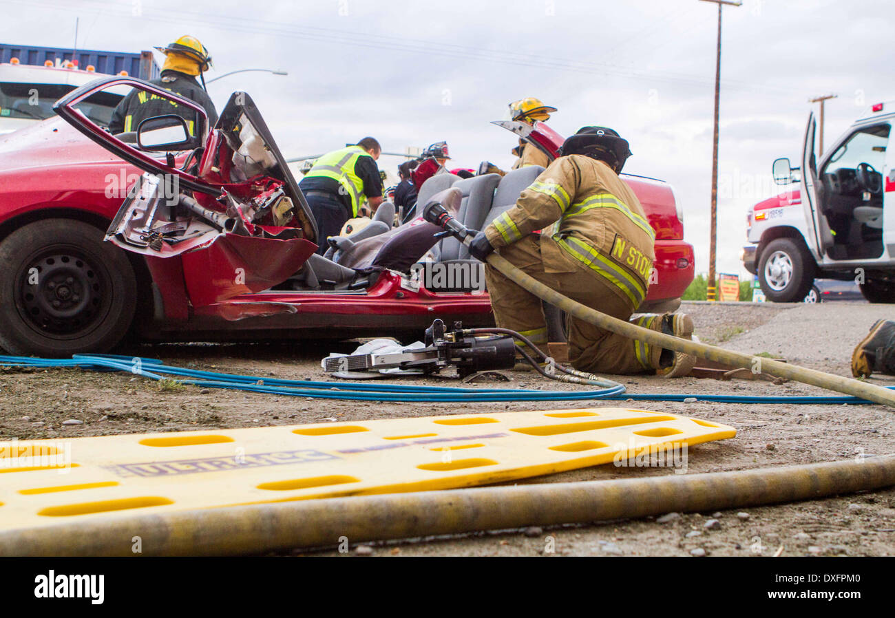 Modesto, CA, USA  25th Mar, 2014  A Semi vs car accident
