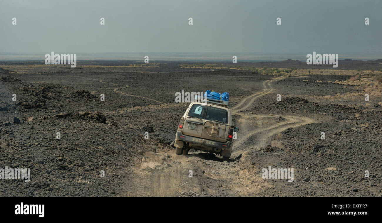 driving from the Erta Ale volcano in the Danakil Depression, Ethiopia, known as the Gateway to Hell. - Stock Image