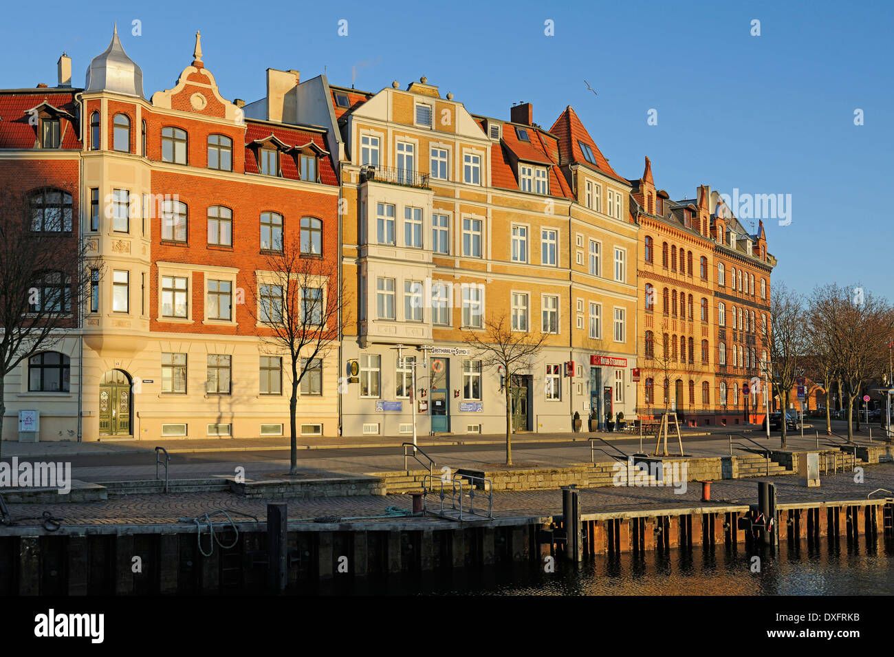 Brick buildings from the 19th Century, at old port, Hanseatic City of Stralsund, Mecklenburg-Western Pomerania, Stock Photo