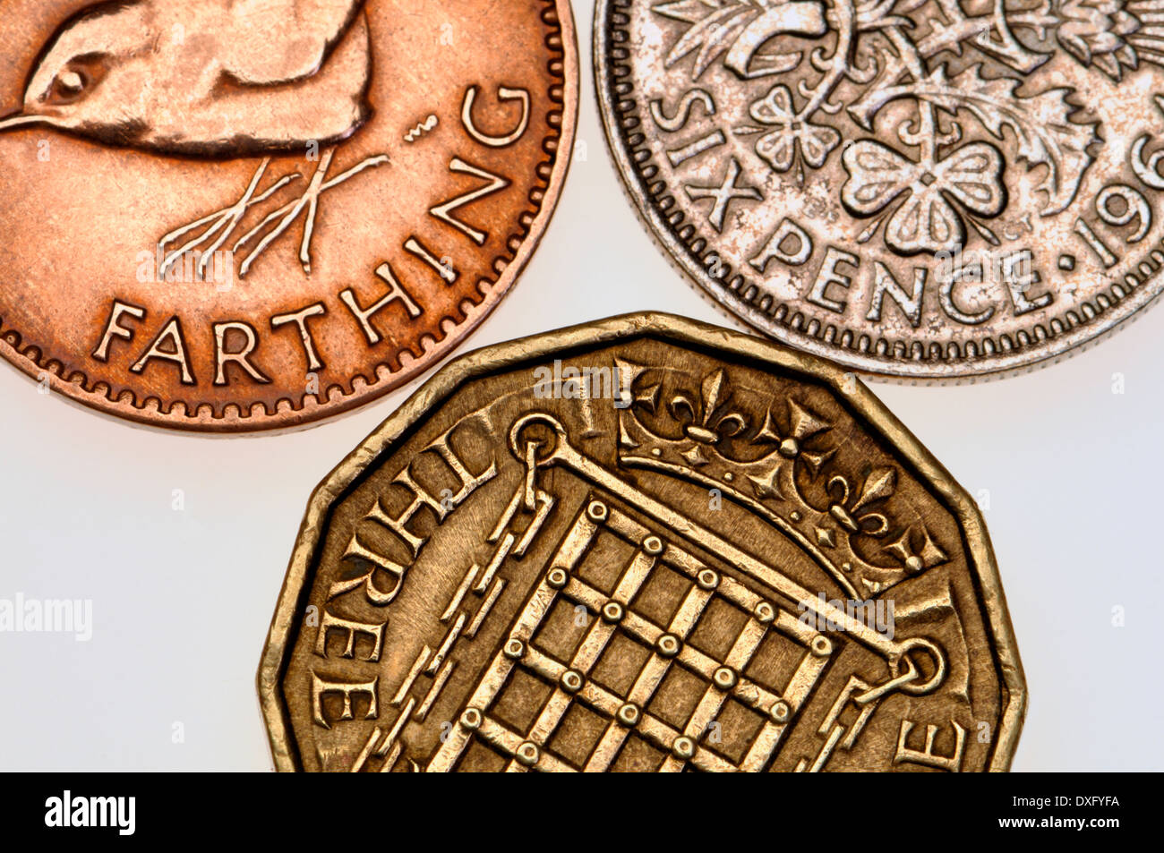 Pre-decimal British coins - farthing, thruppeny bit and sixpence Stock Photo