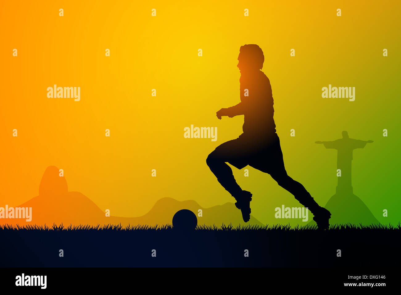 Silhouette soccer players to the sunset time - Stock Image